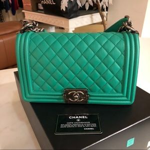 Authentic CHANEL Green Lambskin Medium Boy